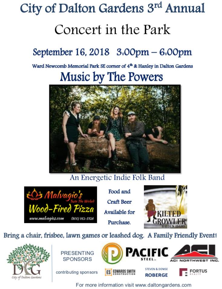 City of Dalton Garden 3RD ANNUAL Concert in The Park With